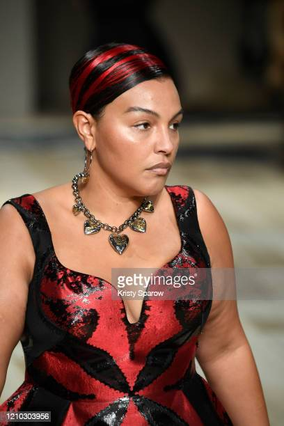 Paloma Elsesser walks the runway during the Alexander McQueen show as part of Paris Fashion Week Womenswear Fall/Winter 2020/2021 on March 02 2020 in...