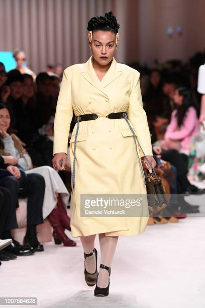 Paloma Elsesser walks the runway during the Fendi fashion show as part of Milan Fashion Week Fall/Winter 2020-2021 on February 20, 2020 in Milan,...