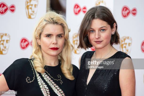 Paloma Faith and Emma Corin are seen on the red carpet during the Virgin Media British Academy Television Awards at The Royal Festival Hall in London