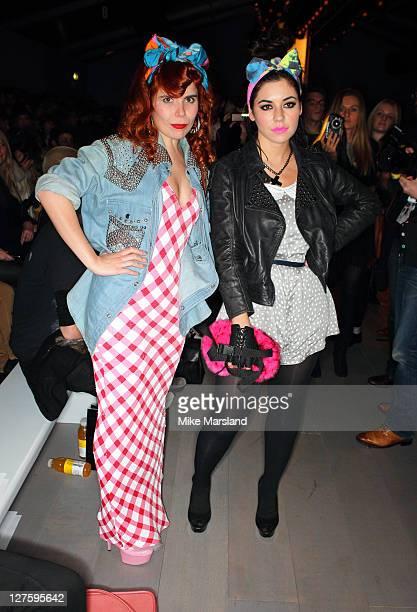 Paloma Faith and Marina Diamandis seen at the Ashish show at London Fashion Week Autumn/Winter 2011 on February 22 2011 in London England