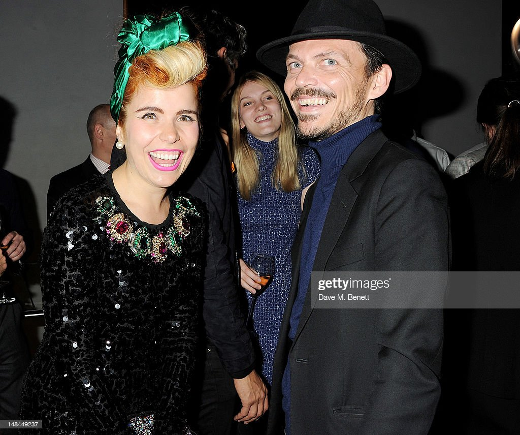 Paloma Faith (L) and Matthew Williamson attend a party celebrating the global launch of Audi City, Audi's first digital showroom, featuring an art installation by Chris Cunningham, on July 16, 2012 in London, England.