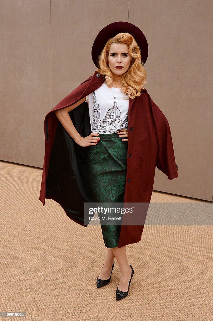 Paloma Faith arrives at Burberry Womenswear Autumn/Winter 2014 at Kensington Gardens on February 17, 2014 in London, England.