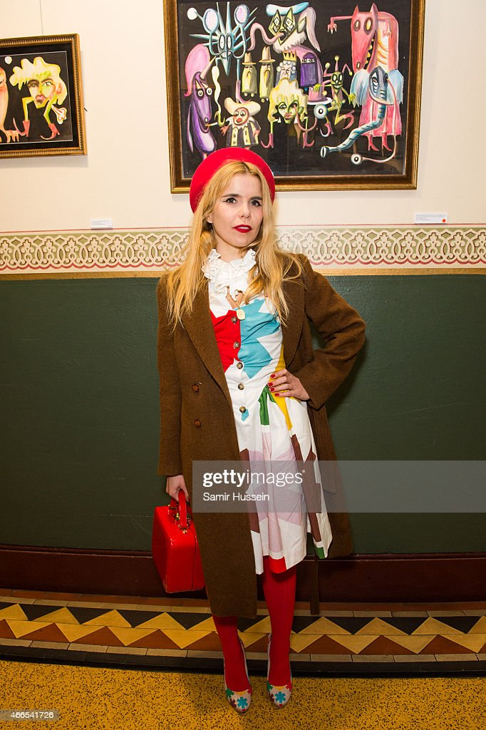 Paloma Faith attends a private view of the Noel Fielding art exhibition 'He Wore Dreams Around Unkind Faces' at the Royal Albert Hall on March 16, 2015 in London, England.