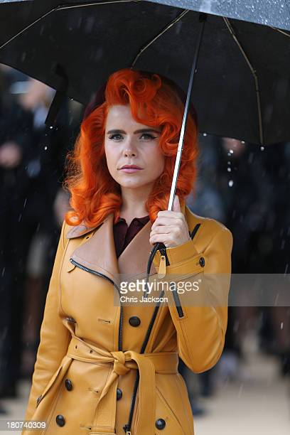 Paloma Faith attends the Burberry Prorsum show at London Fashion Week SS14 at Kensington Gardens on September 16 2013 in London England