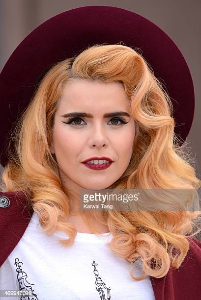 Paloma Faith attends the Burberry Prorsum show at London Fashion Week AW14 at Kensington Gardens on February 17 2014 in London England