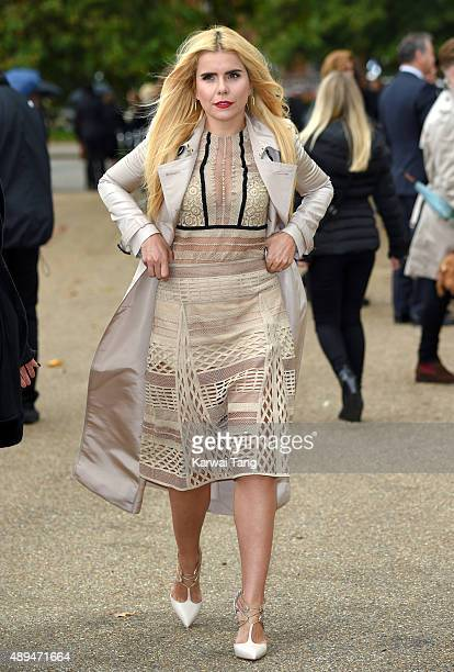 Paloma Faith attends the Burberry Prorsum show during London Fashion Week Spring/Summer 2016/17 at Kensington Gardens on September 21 2015 in London...