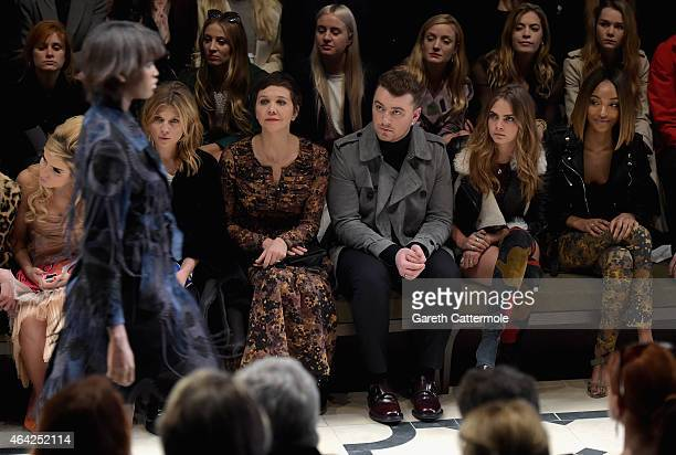 Paloma Faith, Clemence Posey, Maggie Gyllenhaal, Sam Smith, Cara Delevingne and Jourdan Dunn attend the Burberry Prorsum AW 2015 show during London...