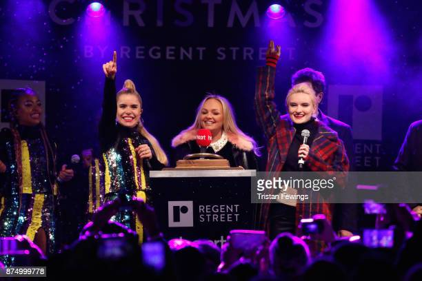 Paloma Faith Emma Bunton and Grace Chatto of Clean Bandit on stage during the Regent Street Christmas lights switch on at Regent Street on November...