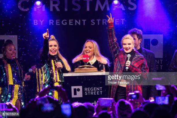 Paloma Faith Emma Bunton and Grace Chatto of Clean Bandit switch on the Regent Street Christmas lights in Regent Street on November 16 2017 in London...