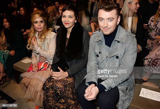 Paloma Faith, Maggie Gyllenhaal and Sam Smith attend the Burberry Prorsum AW 2015 show during London Fashion Week at Kensington Gardens on February...