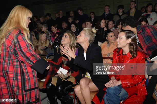 Paloma Faith Paris Jackson Poppy Delevingne and Alexa Chung wearing Burberry at the Burberry February 2018 show during London Fashion Week at Dimco...