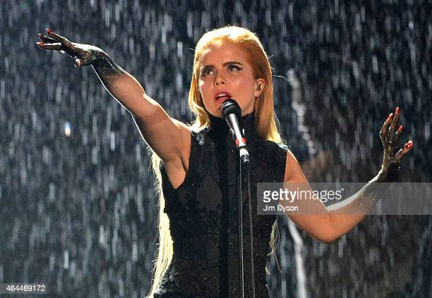Paloma Faith performs live on stage at the BRIT Awards 2015 at The O2 Arena on February 25 2015 in London England