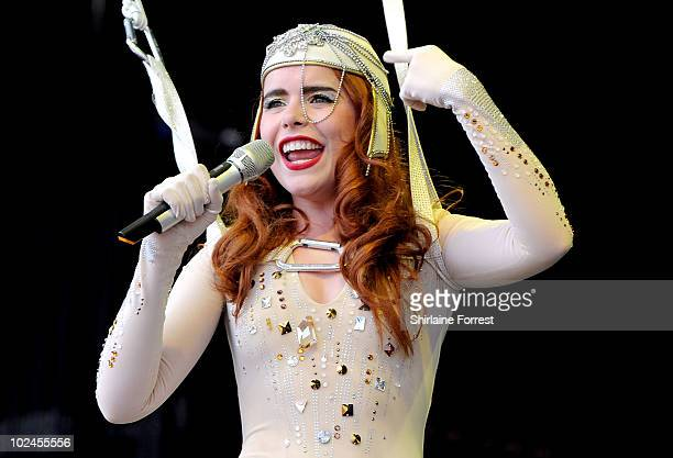 Paloma Faith performs on the Pyramid stage on Day 4 of the Glastonbury Festival at Worthy Farm on June 27 2010 in Glastonbury England