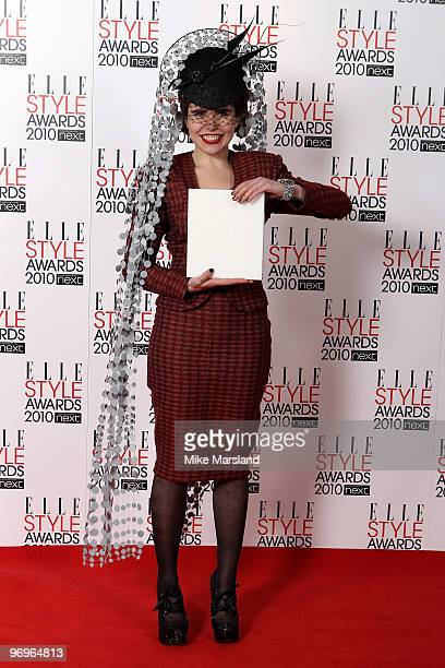 Paloma Faith poses in the Winner's room at the ELLE Style Awards 2010 at the Grand Connaught Rooms on February 22, 2010 in London, England.