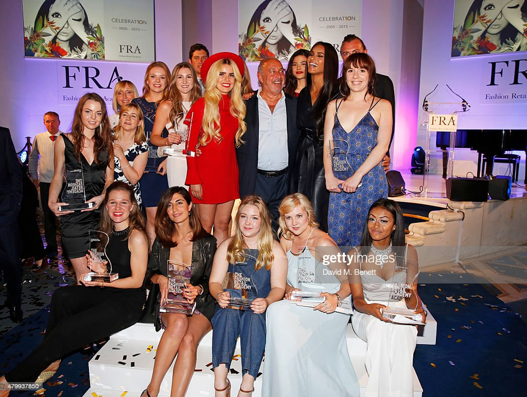 Paloma Faith, Sir Philip Green and Ciara pose with the winners at the Fashion Retail Academy 10th Anniversary Awards at Freemasons' Hall on July 8, 2015 in London, England.