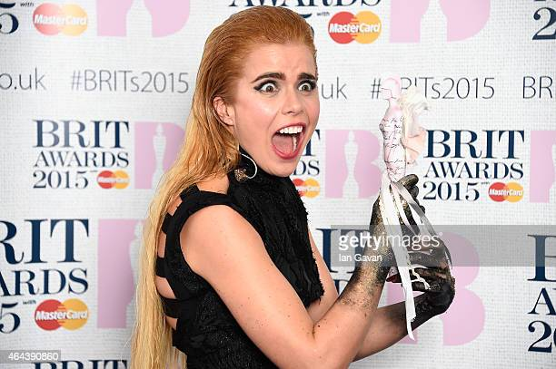Paloma Faith winner of the Best British Female Solo Artist poses in the winners room during the BRIT Awards 2015 at The O2 Arena on February 25 2015...