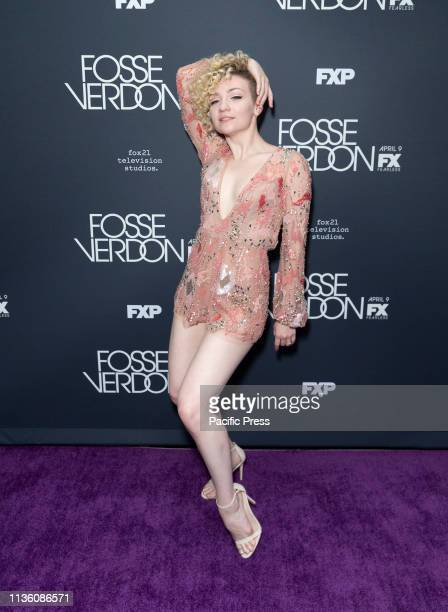 Paloma GarciaLee wearing dress by Hayley Paige attends premiere Fosse/Verdon by FX Network at Gerald Schoenfeld Theatre