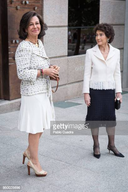 Paloma O'Shea and Ana Patricia Botin arrive to a meeting at 'Escuela Superior De Musica Reina Sofia' on April 22 2018 in Madrid Spain