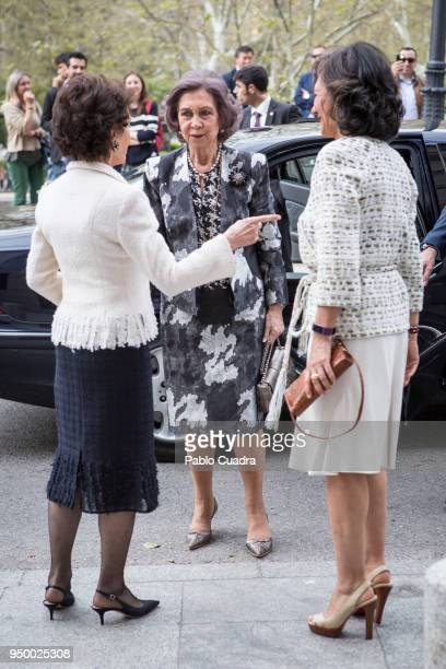 Paloma O'Shea Queen Sofia and Ana Patricia Botin arrive to a meeting at 'Escuela Superior De Musica Reina Sofia' on April 22 2018 in Madrid Spain