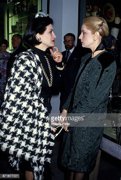 Paloma Picasso and Carolina Herrera attend the Celebrity Fashion Show Benefiting AIDS Patients of St Vincent Hospital at Barney's circa 1986 in New...