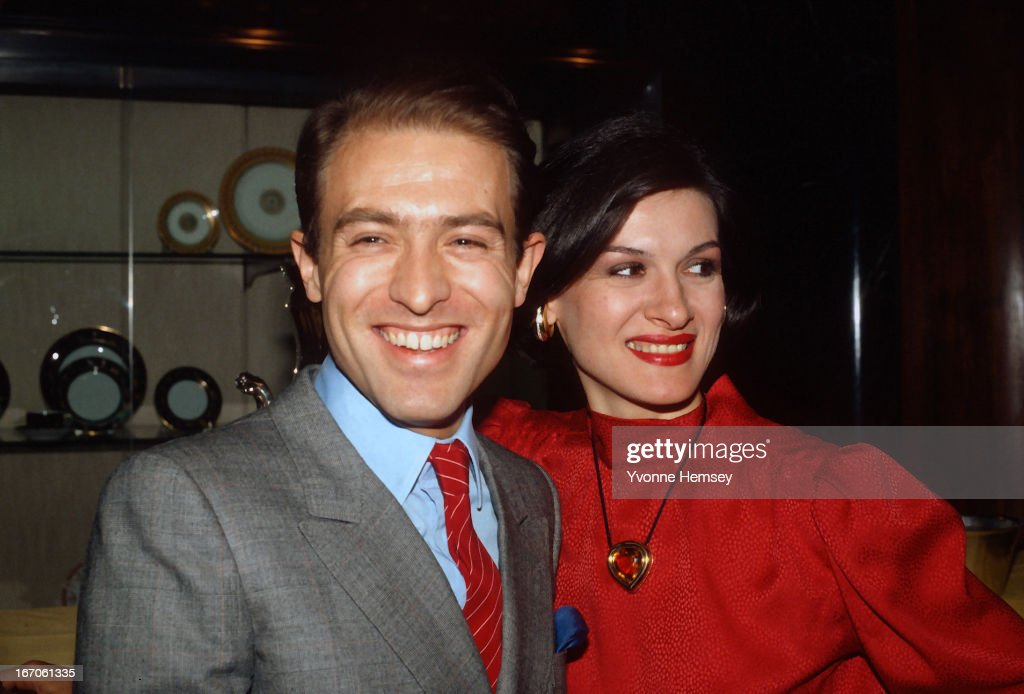 Paloma Picasso and husband, Rafael Lopez-Cambil, also known as Rafael Lopez-Sanchez, are photographed December 1, 1980 at Tiffany's in New York City. Picasso is introducing her jewelry collection.
