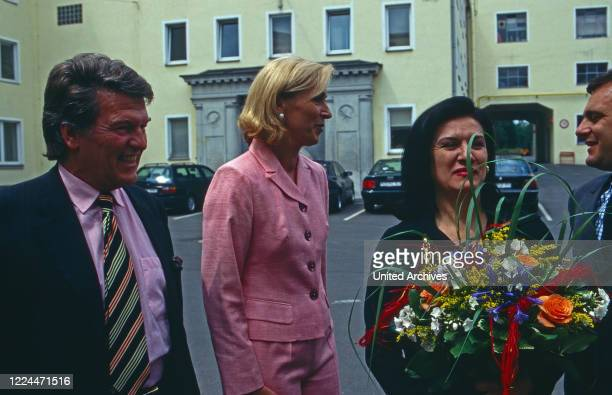 """Paloma Picasso at the launch of the collection """"Sun, Moon and Stars"""", designed by herself, in Hohenberg, Germany, 1997."""