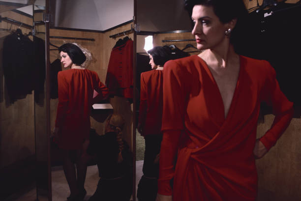 Paloma Picasso in Christian Lacroix Red Dress