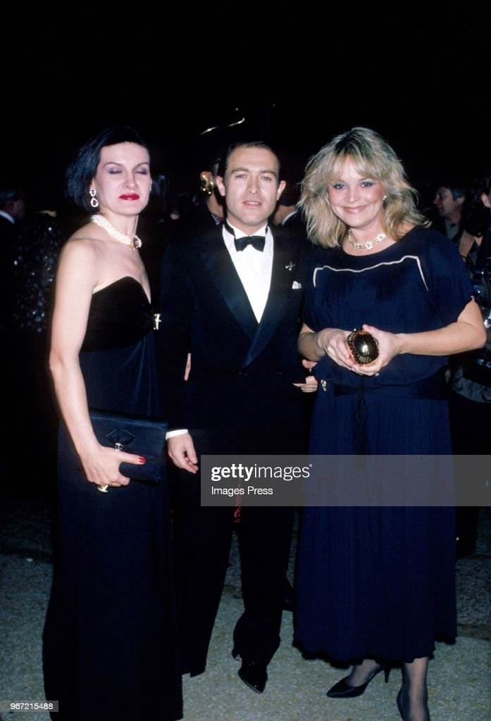L-R Paloma Picasso, Rafael Lopez-Cambil and Mari R. Ichaso photographed at Metropolitan Museum of Art Costume Institute Exhibit 'Man and the Horse' on December 3, 1984 at the Metropolitan Museum of Art in New York.