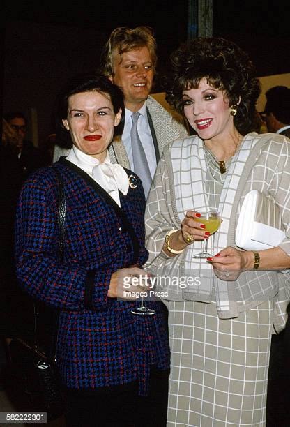 Paloma Picasso with Joan Collins and Peter Holm in Paris