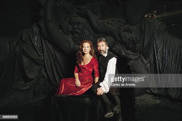 Paloma San Basilio and Jose Sacristan actors `The main characters of ``The man of La Mancha`` pose in the stage with the wardrobe of the show`