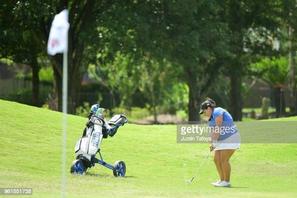 Paloma Vaccaro of the University of West Florida chips the ball during the Division II Women's Golf Championship held at Bay Oaks Country Club on May...