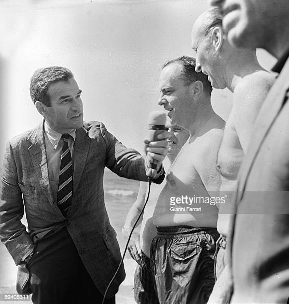 1966 Palomaresm Almeria Spain The spanish minister Manuel Fraga bathes in the beach of Palomares with the US ambassador Angier Biddle Duke because of...