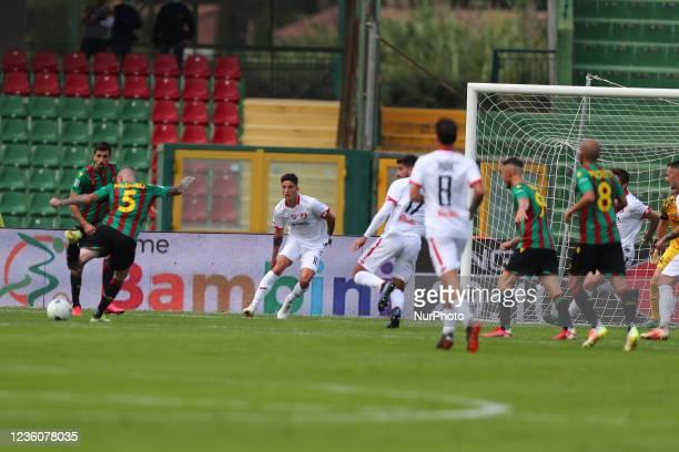 Palumvo Antonio kicks the shot of the goal during the Italian Football Championship League BKT Ternana Calcio vs LR Vicenza on October 23, 2021 at...