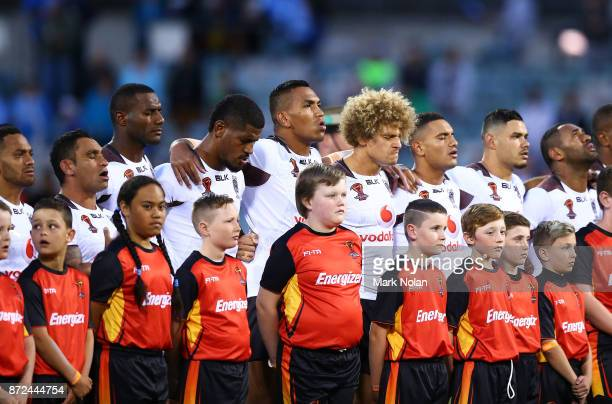 Palyers sing the Fijian national anthem before the 2017 Rugby League World Cup match between Fiji and Italy at Canberra Stadium on November 10 2017...