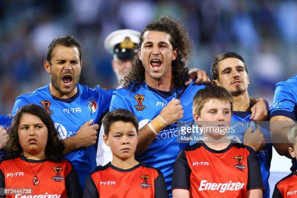 Palyers sing the Italian national anthem before the 2017 Rugby League World Cup match between Fiji and Italy at Canberra Stadium on November 10 2017...