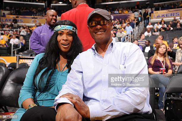 Pam and Joe Bryant parents of Kobe Bryant of the Los Angeles Lakers attend a game between the Oklahoma City Thunder and the Los Angeles Lakers in...