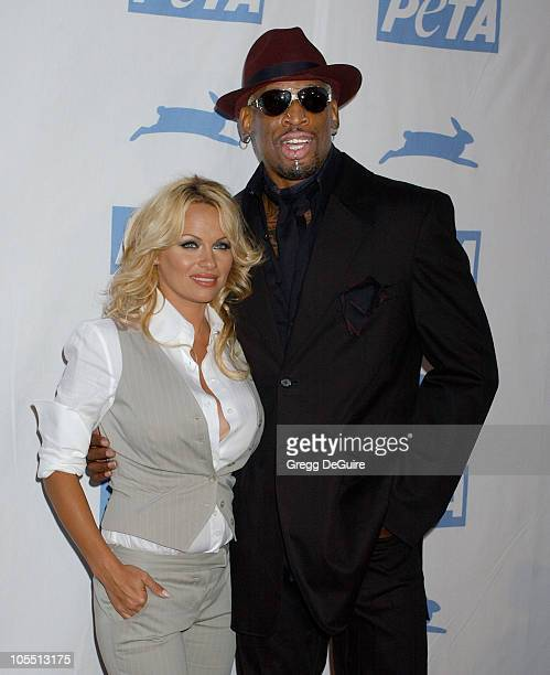 Pam Anderson and Dennis Rodman during PETA's 25th Anniversary Gala and Humanitarian Awards Show - Arrivals at Paramount Studios in Hollywood,...