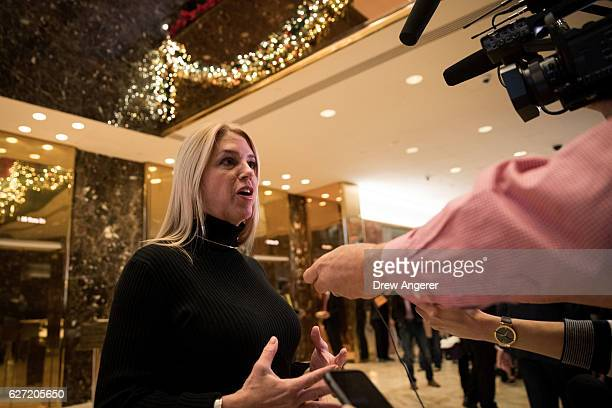 Pam Bondi Attorney General of Florida speaks to reporters at Trump Tower December 2 2016 in New York City Presidentelect Donald Trump and his...