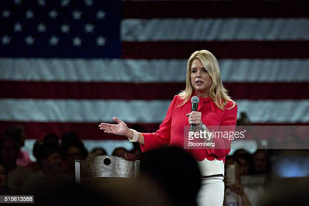 Pam Bondi Florida attorney general speaks during a town hall event with Donald Trump president and chief executive of Trump Organization Inc and 2016...