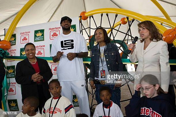 Pam El VP of Marketing at State Farm LeBron James of the Cleveland Cavaliers his mother Gloria James and Jakki Nance Executive Director of the LeBron...