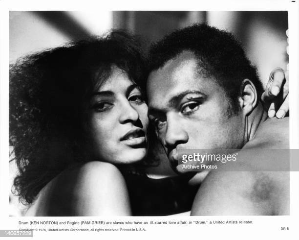 Pam Grier and Ken Norton are slaves who have an ill-starred love affair in a scene from the film 'Drum', 1976.