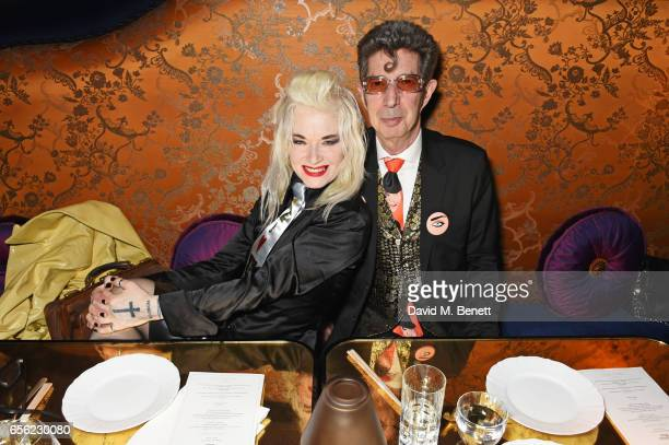 Pam Hogg and Duggie Fields attend the Another Man Spring/Summer Issue launch dinner in association with Kronaby at Park Chinois on March 21 2017 in...
