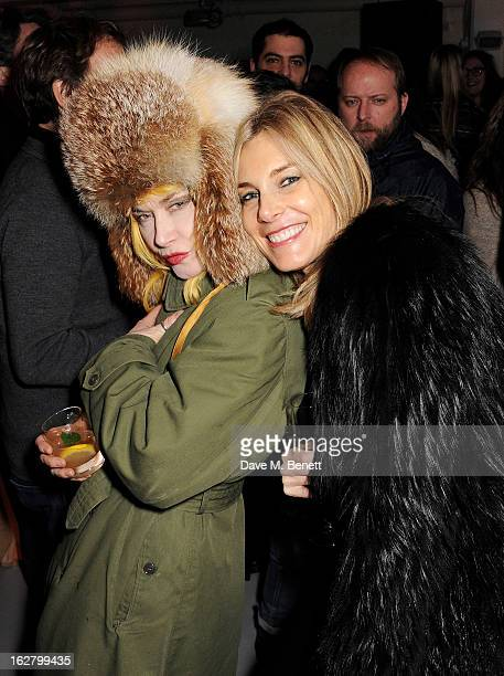Pam Hogg and Kim Hersov attend the launch of artist Dinos Chapman's first album 'Luftbobler' at The Vinyl Factory on February 27 2013 in London...