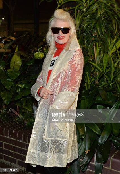 Pam Hogg attends a private view of the Basquiat exhibition cohosted by NETAPORTER in partnership with Frieze at Barbican Centre on October 5 2017 in...