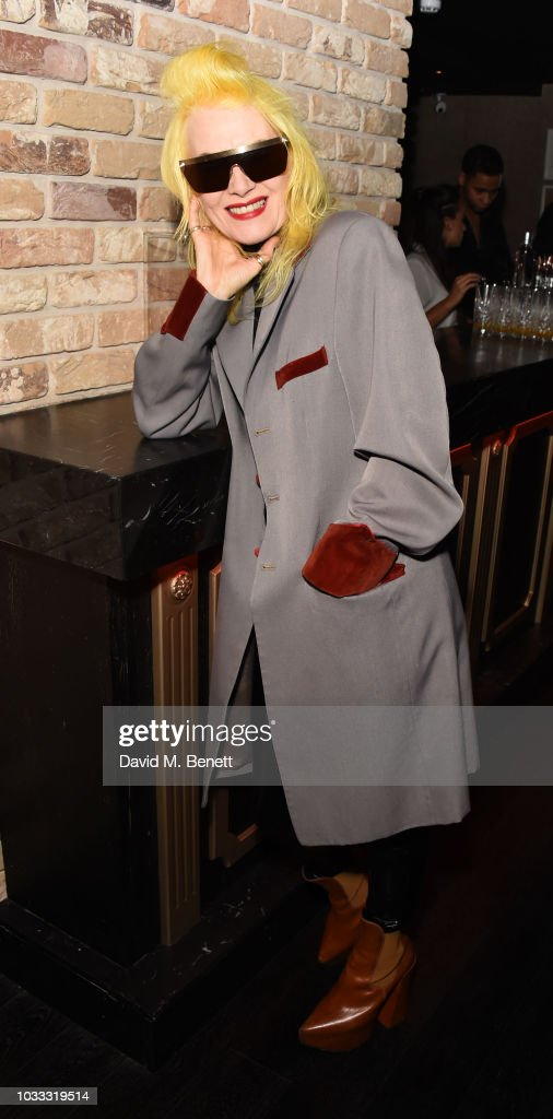 Pam Hogg attends an after party celebrating the Pam Hogg catwalk show during London Fashion Week September 2018 at Kadie's on September 14, 2018 in London, England.