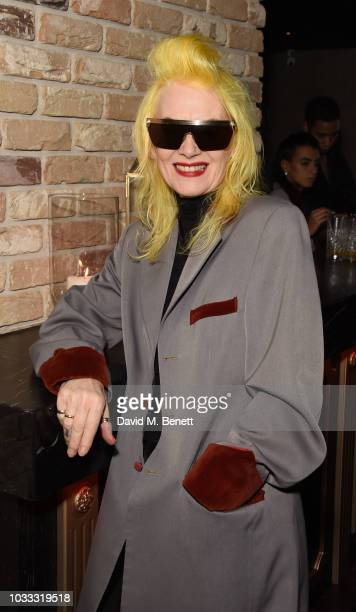 Pam Hogg attends an after party celebrating the Pam Hogg catwalk show during London Fashion Week September 2018 at Kadie's on September 14 2018 in...