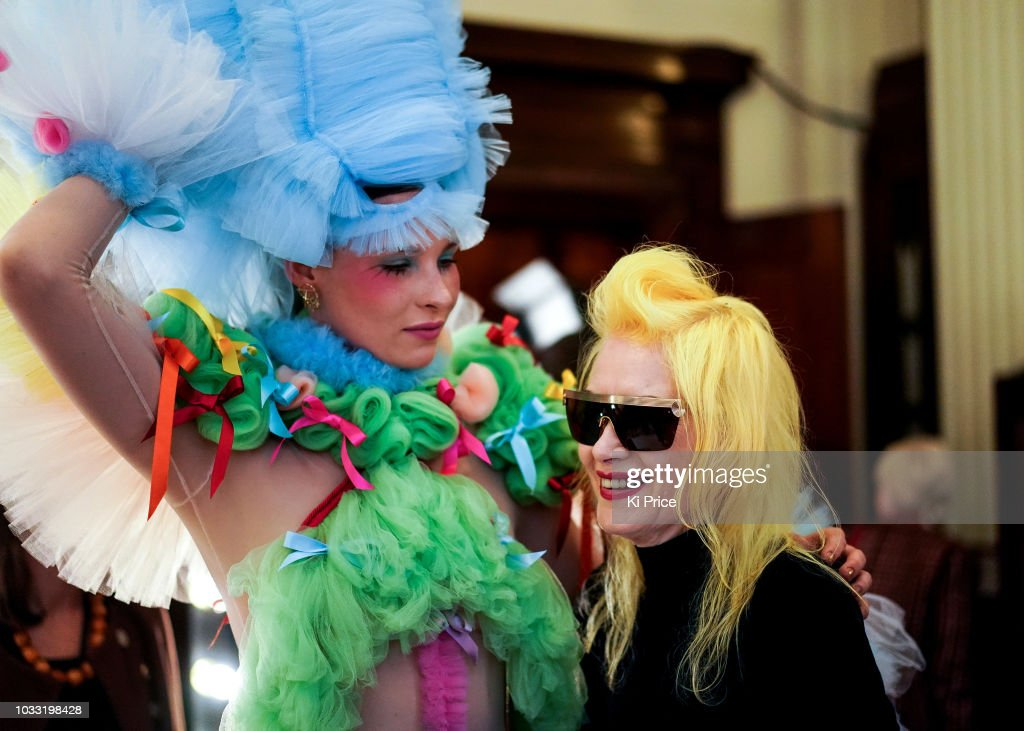 Pam Hogg backstage ahead of the Pam Hogg Show during London Fashion Week September 2018 at Freemasons Hall on September 14, 2018 in London, England.