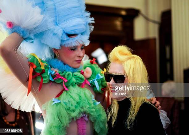 Pam Hogg backstage ahead of the Pam Hogg Show during London Fashion Week September 2018 at Freemasons Hall on September 14 2018 in London England