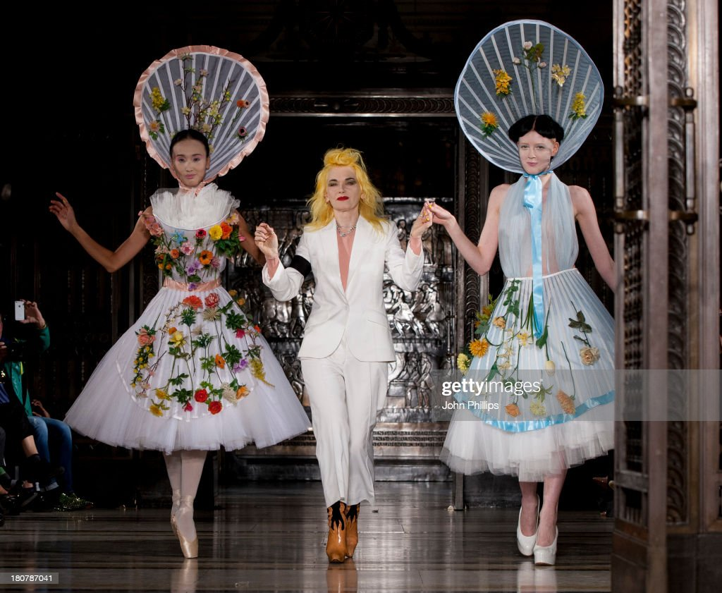Pam Hogg walks the runway at the Pam Hogg show during at the Fashion Scout venue during London Fashion Week SS14 at Freemasons Hall on September 16, 2013 in London, England.