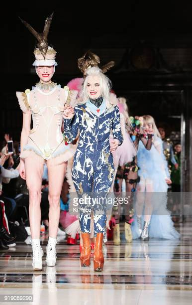 Pam Hogg walks the runway at the Pam Hogg show during London Fashion Week February 2018 at The Freemason's Hall on February 16 2018 in London England